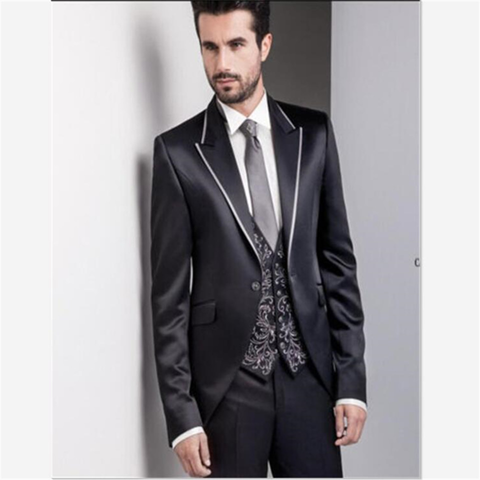 Nouveau élégant Costume masculin noir mariage Tuxedos marié nouveau revers formel Costume de bal Homme costumes 3 pièces (veste + pantalon + gilet) Traje Hombre