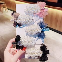 Luxury Full Pearls Bow Hairpins For Women Girls Headband Sweet Hair Ornament Barrettes Hair Clips Fashion Hair Accessories