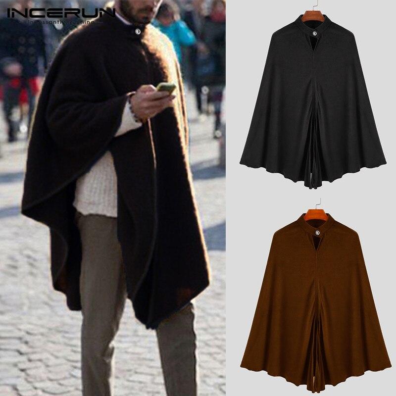 INCERUN 2020 Men Cloak Cape Long Outerwear Solid Color Baggy Vintage Mens Trench Coats Fashion Cool Windbreaker Hombre Plus Size