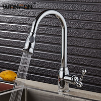 Kitchen Faucets Silver Single Handle Pull Out Kitchen Tap Single Hole Handle Swivel 360 Degree Water Mixer Tap Mixer Tap N22-130