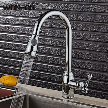 Kitchen Faucets Silver Single Handle Pull Out Kitchen Tap Single Hole Handle Swivel 360 Degree Water Mixer Tap Mixer Tap N22-130 kitchen faucets silver single handle pull out kitchen sink tap single hole handle swivel 360 degree rotation water mixer tap