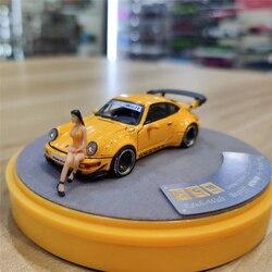 PGM 1:64 RWB 964 RAUH-Welt желтый роскошный w/64 рисунок красивая девушка литья под давлением модель автомобиля