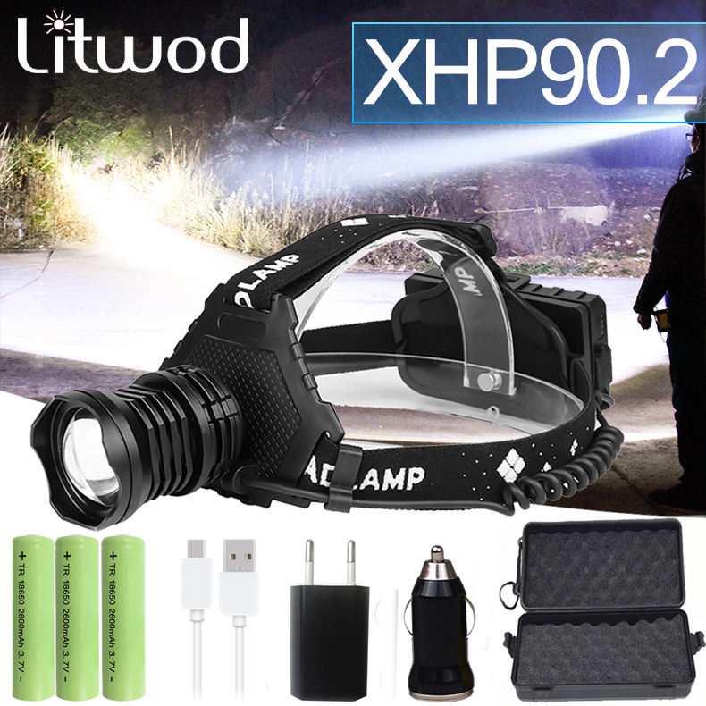 Most Powerful XHP90 2 Led Headlamp 8000LM Head lamp USB Rechargeable Headlight Waterproof Zooma Fishing Light Use 18650 Battery