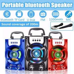Portátil bluetooth alto-falante com microfone luzes led regulável ao ar livre karaoke máquina subwoofer suporte usb/tf cartão/aux/fm