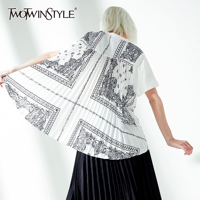 TWOTWINSTYLE Casual Print Women T Shirt O Neck Short Sleeve Pleated Patchwork Hit Color T-shirt Female Fashion 2020 Clothing New