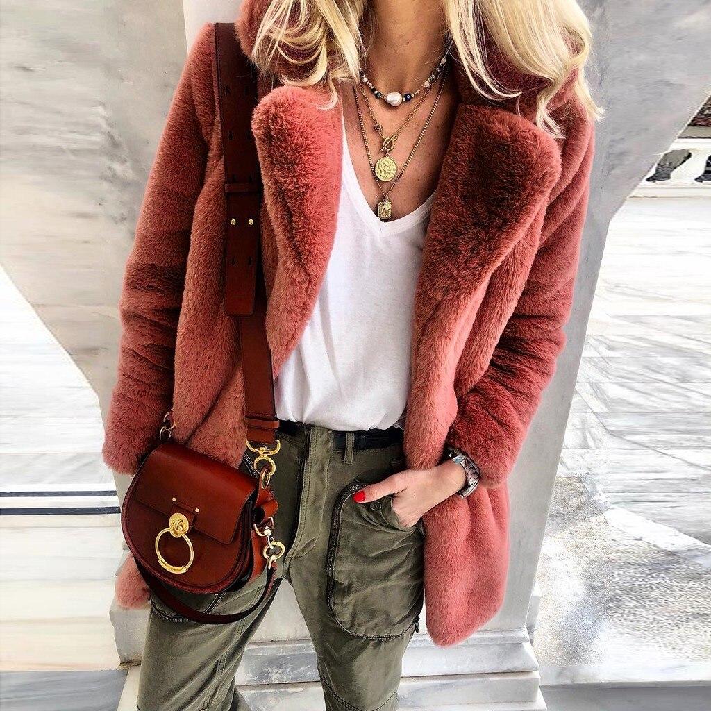 New Winter Womens Faux Fur Long Outwear Coat Warm Fleece Thick Jacket Ladies Long Plus Size Cardigan Overcoat