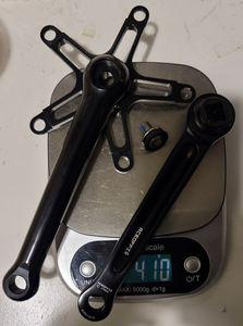 Image 2 - Superlight crankset 396g black or shiny silver for road brompton bike 130mm