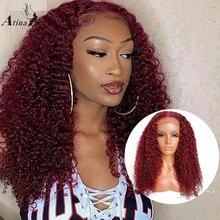 99j borgonha colorida peruca de cabelo humano pré arrancadas braizlian remy lixívia vermelha nós frente do laço peruca de cabelo humano com cabelo do bebê atina