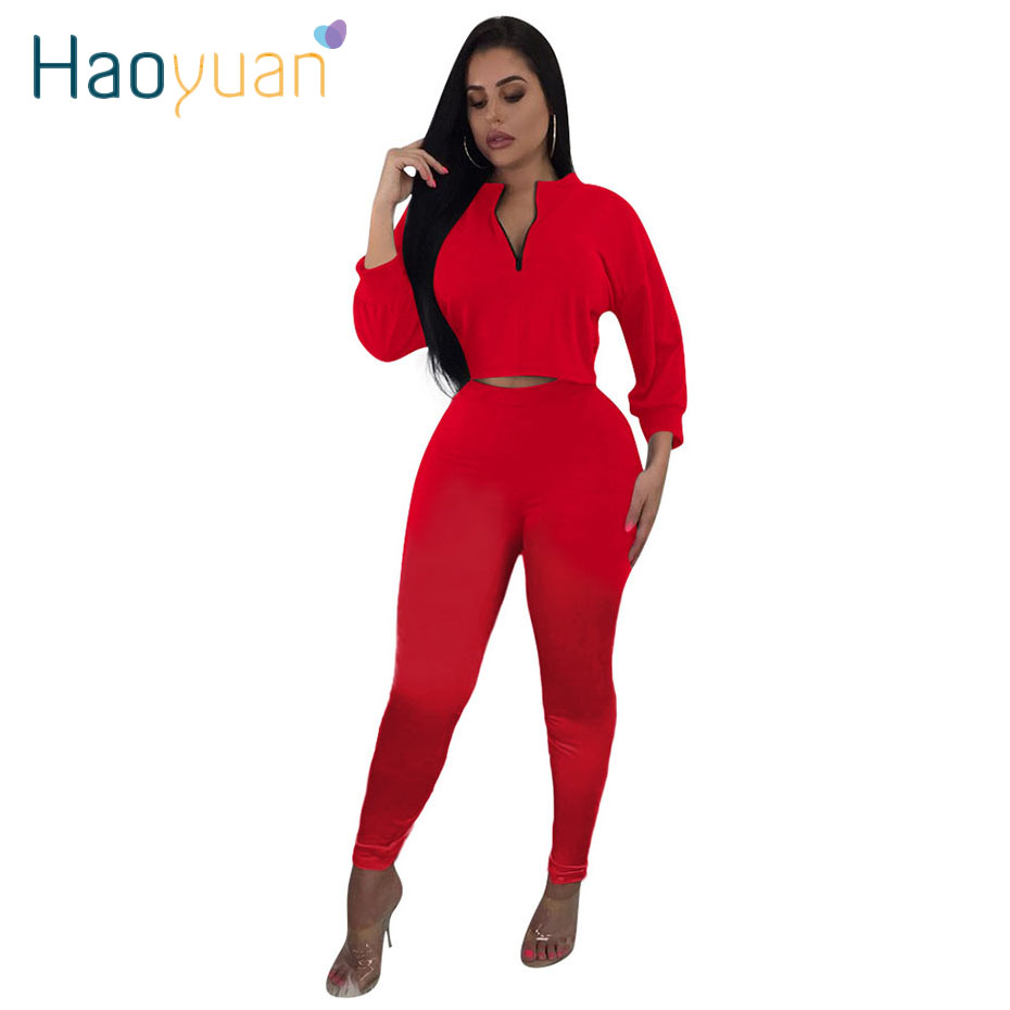 HAOYUAN Two Piece Set Tracksuit Fall 2019 Festival Clothing Long Sleeve Crop Top And Pant Sweat Suits 2 Piece Outfits For Women