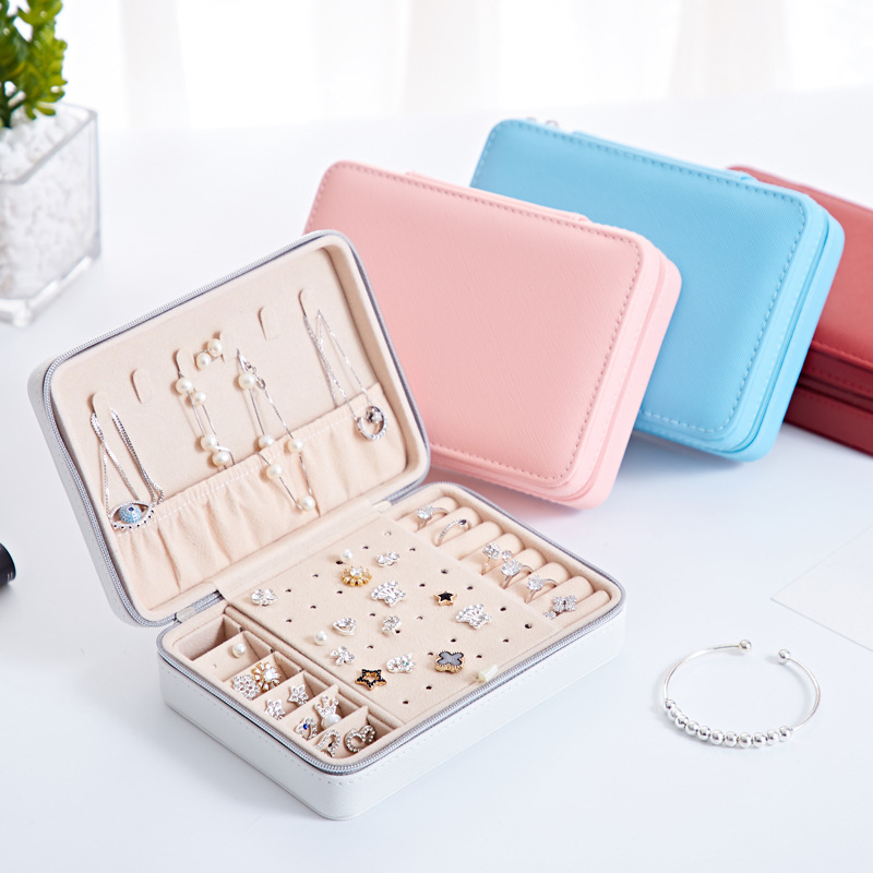 New Products Portable Pu Fresh Simple Er Ding Ban Jewlery Box Earrings Ring Multi-functional Jewelry Box Wholesale