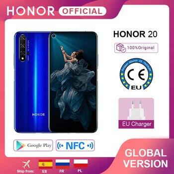 Перейти на Алиэкспресс и купить Глобальная версия Honor 20 мобильный телефон Kiri 980 Восьмиядерный 6,26 ''6GB128GB 48MP четыре камеры SuperCharge смартфон NFC Google Play