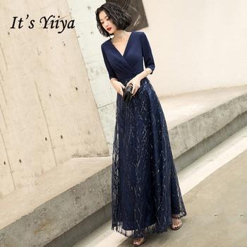 Evening Dresses Navy Blue Its Yiiya  BR319 V-neck Robe De Soiree Half Sleeve A Line Long Formal Gowns Vestido