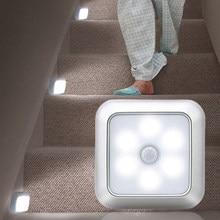 2020 recém chegados bateria 6led quadrado sensor de movimento luz da noite pir indução sob luzes do armário escadas cozinha armário lâmpada