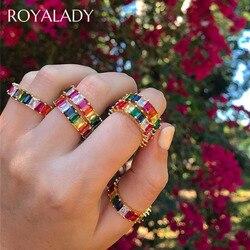 Bohemia cienkie CZ bagietki obrączki dla kobiet AAA Crystal betonowa kobieta palec pierścień tęczy na przyjęcie wyrazista biżuteria