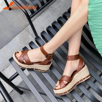 Karinluna New Design 2020 High Quality Summer Sandals Woman Shoes Platform Concise Buckle Strap Comfortable Shoes Lady Pumps