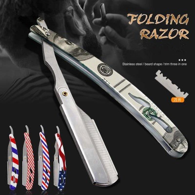 Men Shaving Barber Tools Hair Razor Antique Black Folding Shaving Knife Stainless Steel Straight Razor Holder (No Blades)