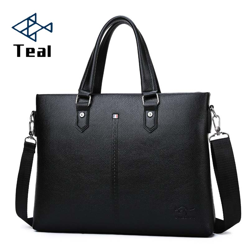 Men's Briefcase Casual Bag Pu Leather Briefcase Men's Tote Bags Brown High Quality Male Business Leather Large Capacity Black
