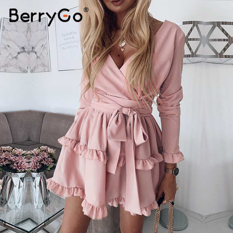 BerryGo Long Sleeve Ruffle Pink Women Dress High Wasit Summer Dress Elegant V-neck Streetwear Chic Ladies Short Party Dress 2020