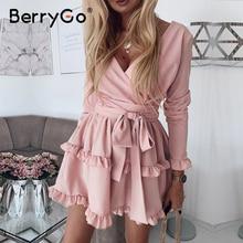 Berrygo長袖フリルピンクの女性のドレス高ワーシトサマードレスエレガントなvネックストリートシックなレディースショートパーティードレス2020