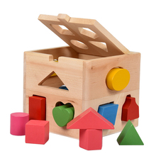 Educational Toys Early Learning Wooden Interesting Thirteen Holes Kids Gift Geometric Shape Matching Baby Intelligence Box 13 holes wooden toys intelligence box for shape sorter cognitive and matching building sorority eductional toys for children