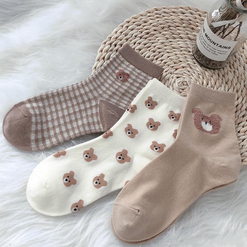 Women Soft Fashionable Cute Cartoon Cotton Japanese Korean Socks Christmas Kawaii Bear Sailor Harajuku Slouch Streetwear Female