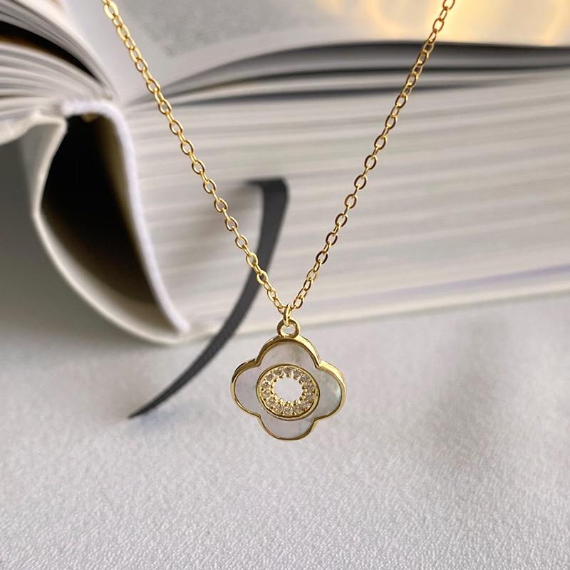 Клевера кулон ожерелье ювелирные изделия 925 Серебряное ожерелье для женщин простое колье-ошейник цепи ювелирное изделие из золота в плата ...