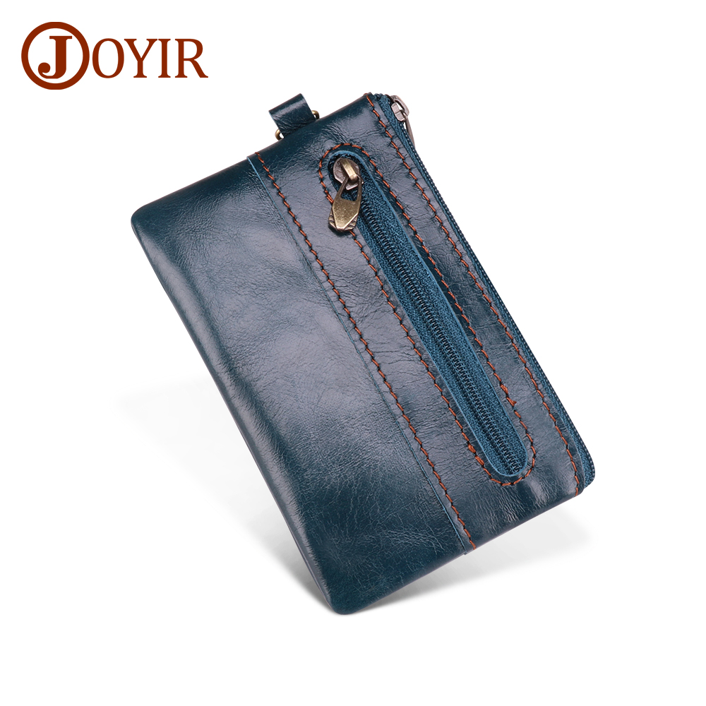 JOYIR Genuine Leather Coin Purse Men Women Small Wallet Change Purses Mini Zipper Coin Wallet Card Holder Pouch Small Money Bag