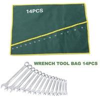 Набор инструментов, 14 решетчатых зеленых гаечных ключей, сумка, фурнитура, сумка на плечо, карманы, холст, гаечный ключ, сумка для