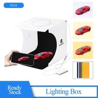 PULUZ 24*22*23cm Folding Studio Diffuse Soft Box Lightbox With Ring 64LEDs Panel 6 Colors Backdrops Photo Background Studio Box