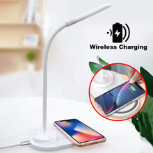 цена на LED Stand Desk Lamp Wireless Charging Table Lamp Modern Touch Eye Protection Multi-Function Reading Light Mobile Charging USB