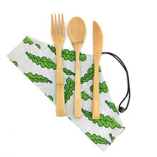 Hot 3pcs Eco Friendly Bamboo Cutlery Set Outdoor Portable Wooden Knife Fork Spoon Tableware Set 100%Biodegradable Flatware Set portable bamboo korean cutlery set wooden tableware knife fork spoon set with eco friendly bamboo straw for travel cutlery set