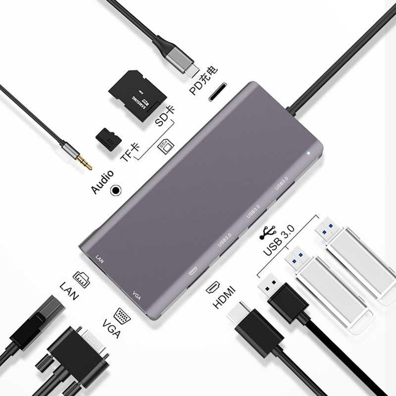 USB C Type de moyeu C à Multi USB 3.0 HUB HDMI adaptateur Dock pour MacBook Pro Huawei Mate 30 USB-C 3.1 Port de répartiteur