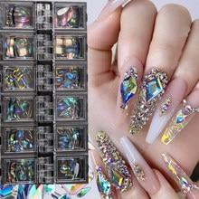 12 grades/caixa ab arte do prego diamante gem 3d prego lantejoulas cristal strass vidro decoração da arte do prego