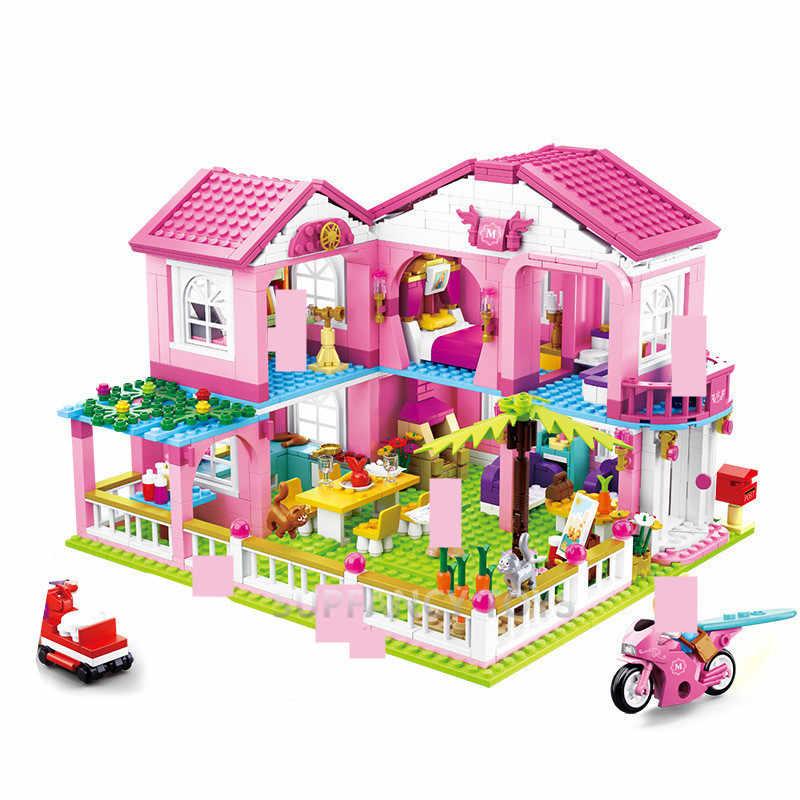 Grande Giardino Villa Juguetes Città Casa Building Blocks Imposta Yacht Nave Castello LegoINGLs Amici Lepinblocks Giocattoli Dei Mattoni per Ragazze