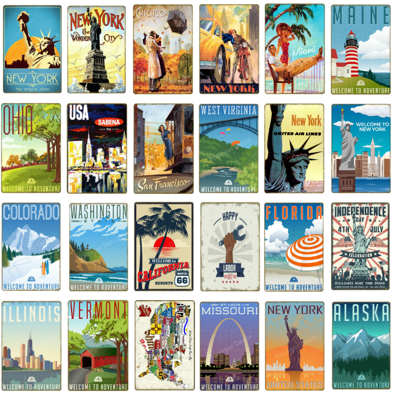 Металлические знаки для путешествий в США, странах, городах, Нью-Йорк, Аляска, Огайо, Вашингтон, декоративный плакат, ретро, винтажное настен...