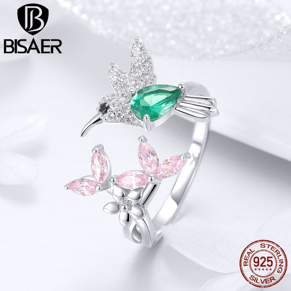 BISAER 925 Sterling Silver Bird Hummingbirds Greeting Finger Rings Clear CZ Flower Adjustable Rings For Women Wedding EFR016
