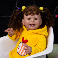 Poupées de bébé en tissu ravissant de 27 pouces, jouet de nouveau-né avec des cheveux enracinés réalistes, cadeau d'anniversaire pour enfants