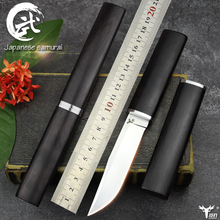 LENGREN D2 tactical knife, Japanese mirror light knife ebony Handle outdoor hunting straight sharp knife (samurai sword classic)