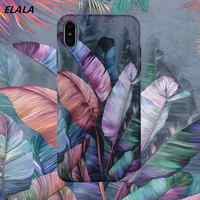 ELALA Matte Marble Case For iphone 7 8 Plus Candy Color Flower Leafs Pattern Silicon Cover For iPhone X XR XS Max 6 S 7 11 Case