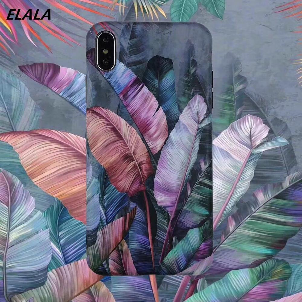 Funda de mármol mate ELALA para iphone 7 8 Plus caramelos y flores de colores funda de silicona con patrón de Leafs para iphone X XR XS Max 6 S 7 11