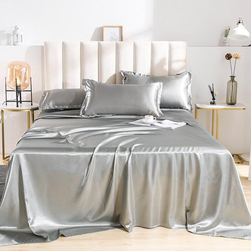 Sábana de cama de verano de lujo de seda satinada, sábanas de 18 colores Silky Queen King, sábanas de Satin para cama doble
