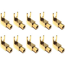 Sudut Kanan Sekop Garpu & Mengikat Post-4Mm Pisang Plug Socket-Sekop Garpu Konektor untuk Speaker & power & Amp(10 Pack)(China)