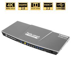 Tesla inteligente gris de alta calidad HDMI 4K @ 60Hz HDMI KVM interruptor 4 Port USB KVM interruptor HDMI soporte 3840*2160/4K * 2K Extra USB2.0 puerto