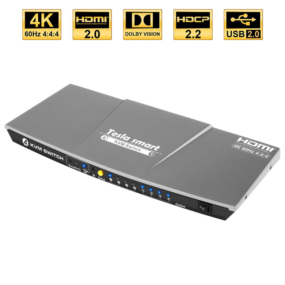 Tesla smart gris haute qualité HDMI 4K @ 60Hz HDMI KVM commutateur 4 ports USB KVM HDMI commutateur prise en charge 3840*2160/4K * 2K Port supplémentaire USB2.0