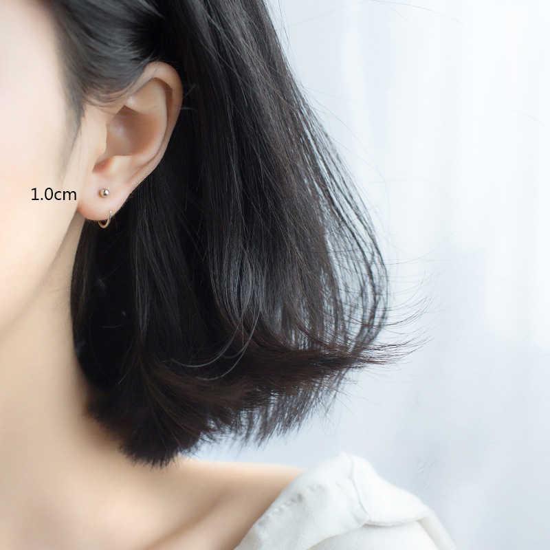 Trusta 2018 새로운 여성 패션 100% 925 진짜 스털링 실버 패션 작은 귀여운 라운드 비즈 스터드 귀걸이 여자 아이 선물 DS525