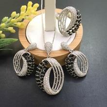 Lanyika biżuteria Olivary kolory naszyjnik cyrkoniowy z kolczykami i pierścieniem cyrkonia Micro Pave na imprezę prezent dla nowożeńców