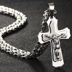 Подвеска из нержавеющей стали с крестом с изображением Иисуса