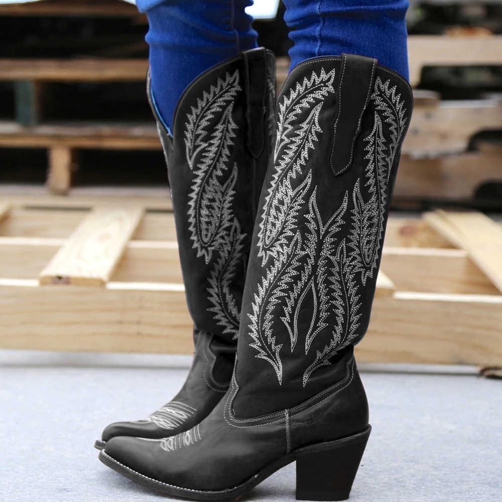 גבירותיי אתחול קלאסי רקום מערבי קאובוי מגפי נשים עור Cowgirl מגפי עקב נמוך נעלי הברך גבוהה מגפי אישה