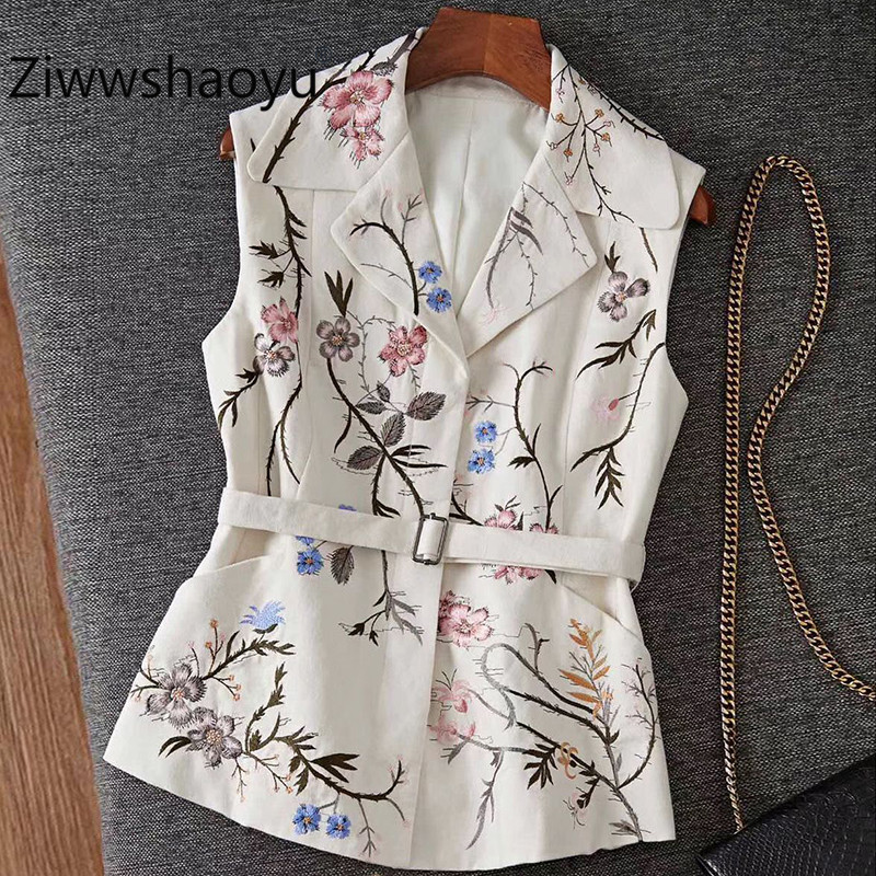Ziwwshaoyu Runway Designer 2020 New Women's Vest Coat Fine Flowers Embroidery Fashion Coat Vest + Belt