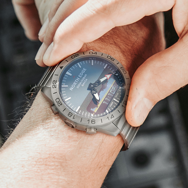Stainless steel Quartz Watch Dive Military Sport Watches Mens Diving Analog Digital Watch Male Army Altimeter Compass NORTH EDGE - 5